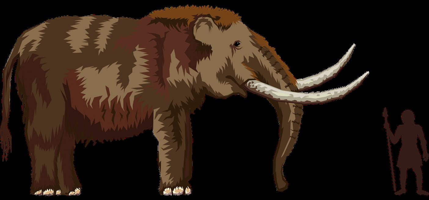 mamutas ir medziotojas